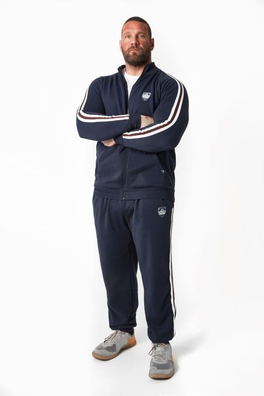 Joggers BadRhino Navy Joggers With Applique Badge & Double Stripe Detail 200417