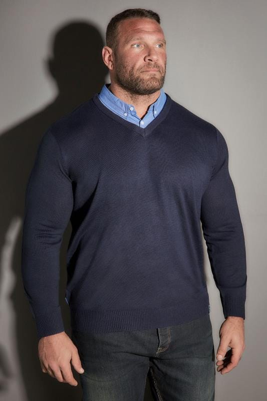 Jumpers BadRhino Navy Jumper With Blue Mock Shirt Collar 200656