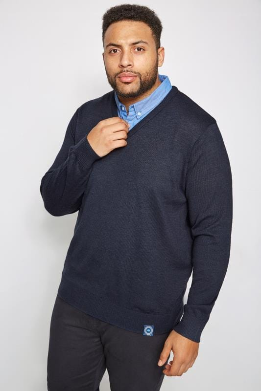 BadRhino Navy Jumper With Blue Mock Shirt Collar