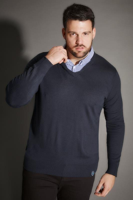 BadRhino Navy Jumper With Mock Check Shirt Collar