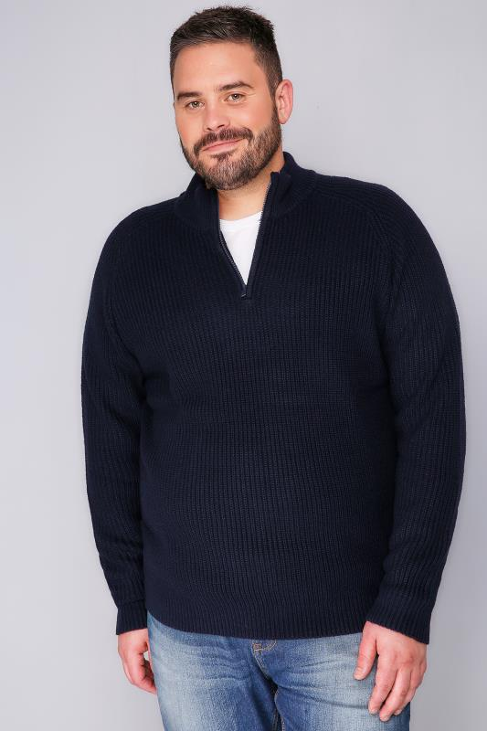 BadRhino Navy Knitted Jumper With Zip Funnel Neck -TALL