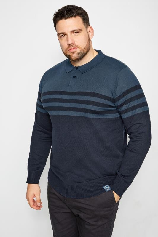 BadRhino Navy Knitted Stripe Polo Shirt