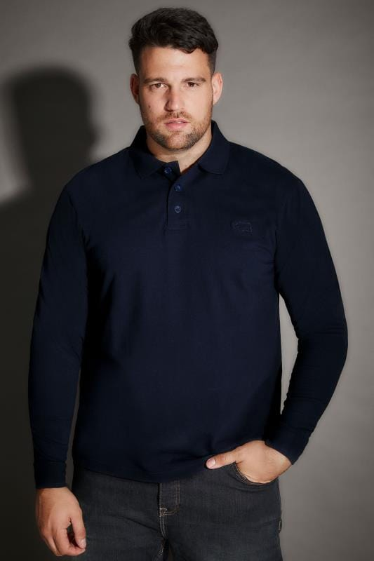 Polo Shirts BadRhino Navy Long Sleeve Polo Shirt 200353