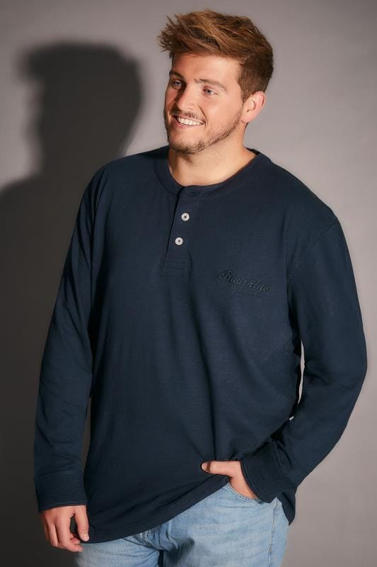 BadRhino Navy Long Sleeved Henley Top - TALL