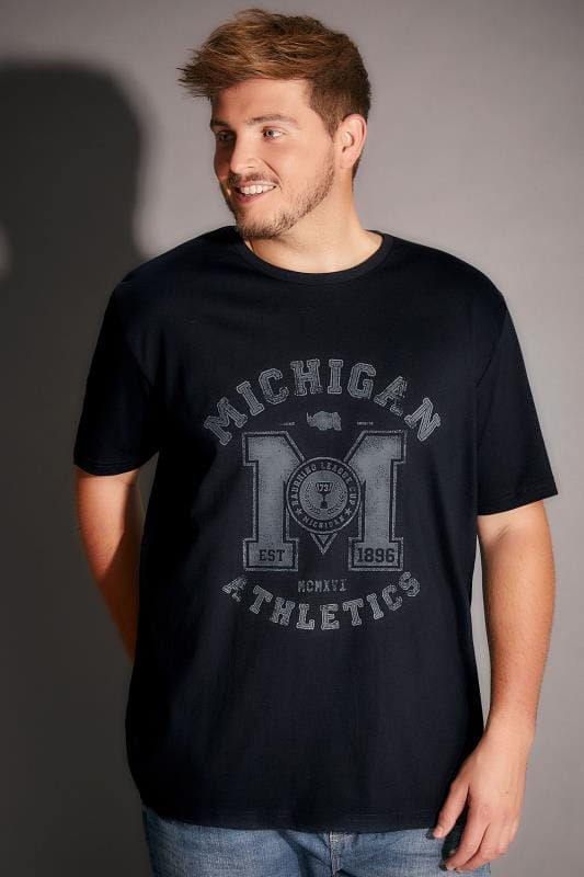 BadRhino Navy Michigan Slogan T-Shirt
