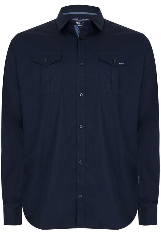 Casual Shirts BadRhino Navy Military Shirt With Two Chest Pockets 200441