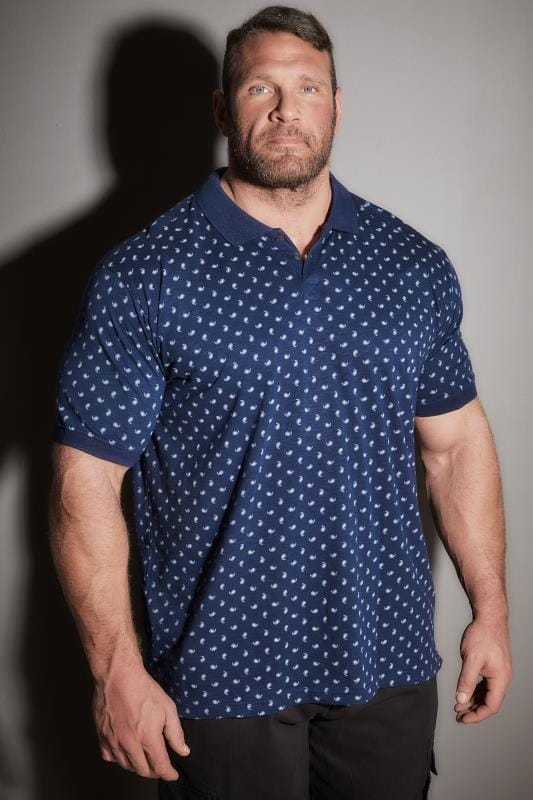 77c86c47 BadRhino Navy Paisley Print Polo Shirt Extra Large L to 8XL