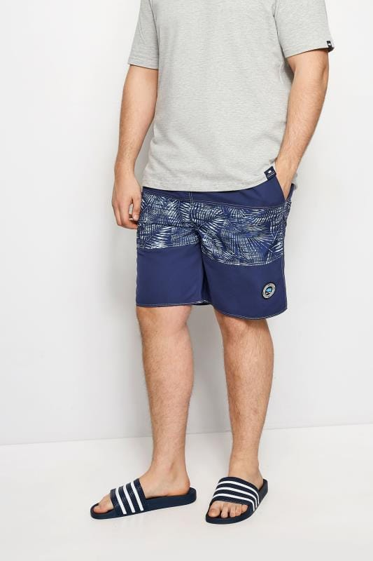 BadRhino Navy Palm Leaf Board Swim Shorts