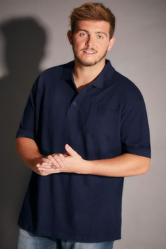 BadRhino Navy Plain Polo Shirt With Chest Pocket