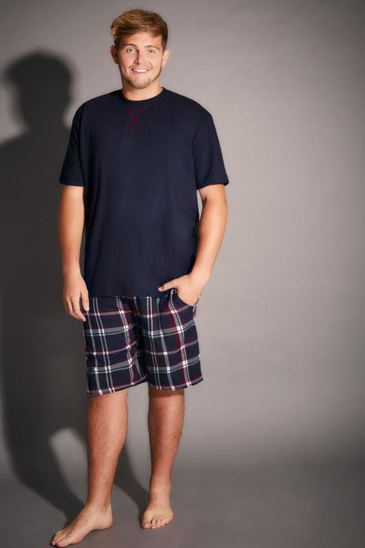 Nightwear BadRhino Navy Plain T-Shirt & Brushed Check Short Loungewear Set 100169