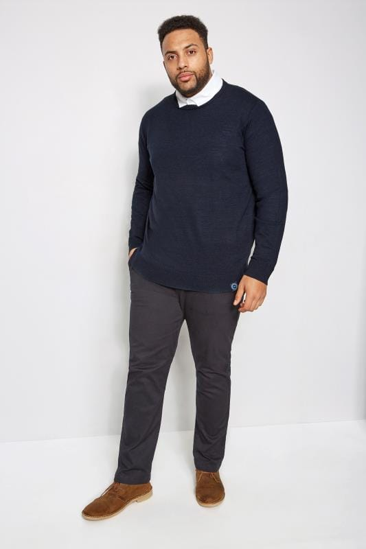 BadRhino Navy Premium Slub Cotton Jumper With Crew Neck