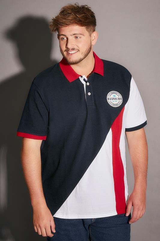 BadRhino Navy, Red & White Colourblock Polo Shirt With Badge - TALL