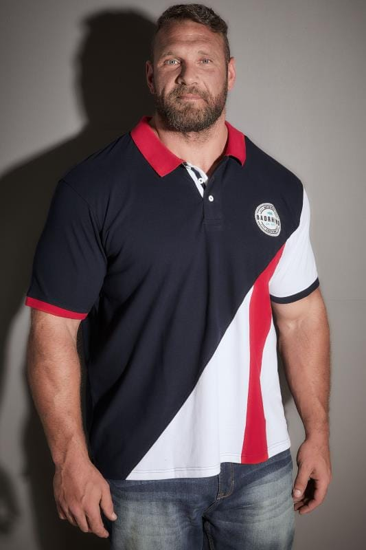 BadRhino Navy, Red & White Colourblock Polo Shirt With Badge