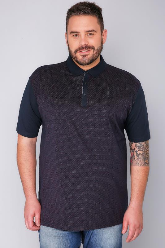 BadRhino Navy Short Sleeve Polo Shirt With Red Dot Print - TALL