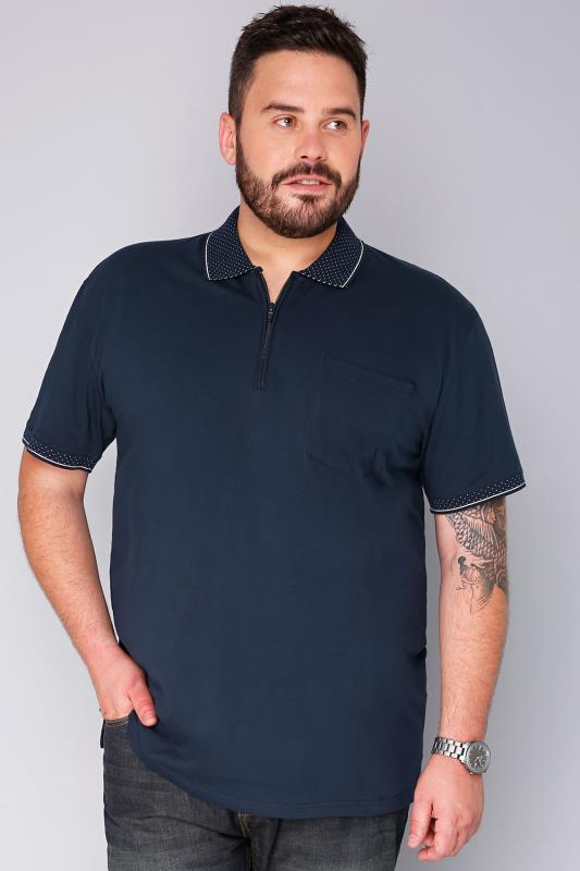 BadRhino Navy Short Sleeve Zip Neck Polo Shirt