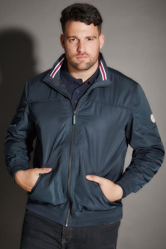 Jackets BadRhino Navy Shower Resistant Bomber Jacket With Tipped Collar & Ribbed Trims 200315
