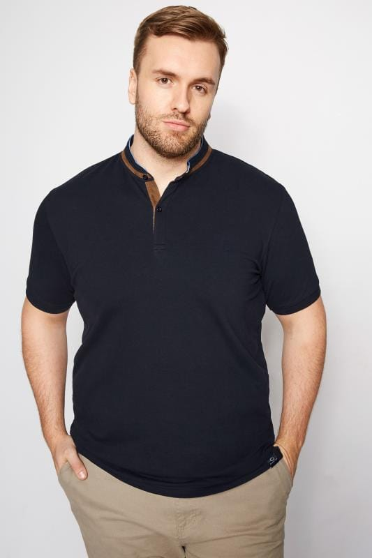 BadRhino Navy Stretch Grandad Polo Shirt
