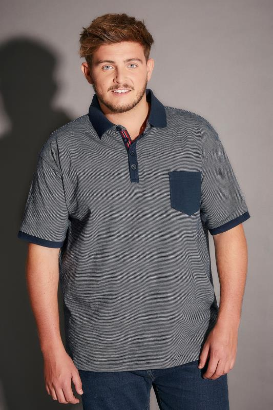 BadRhino Navy Stripe Polo Shirt With Contrast Collar & Pocket - TALL