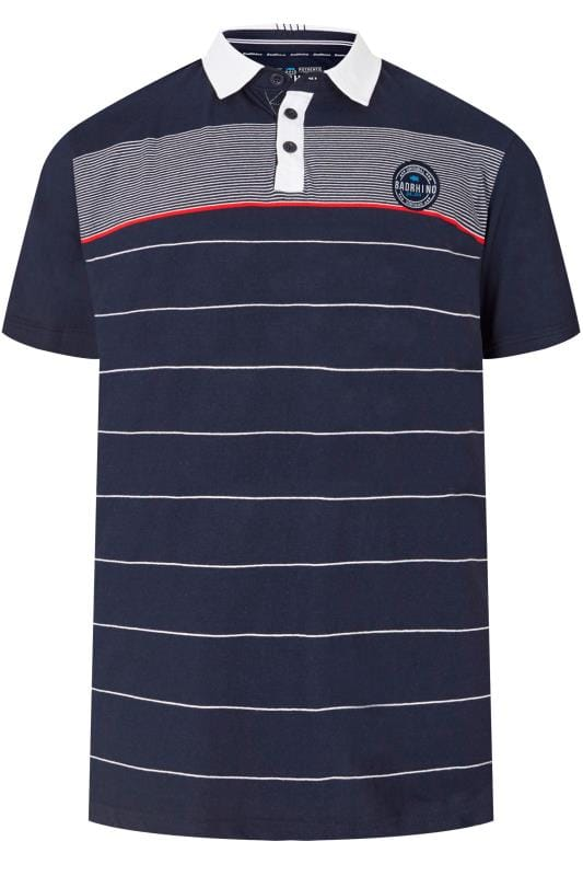 Polo Shirts BadRhino Navy Striped Logo Polo Shirt 200758