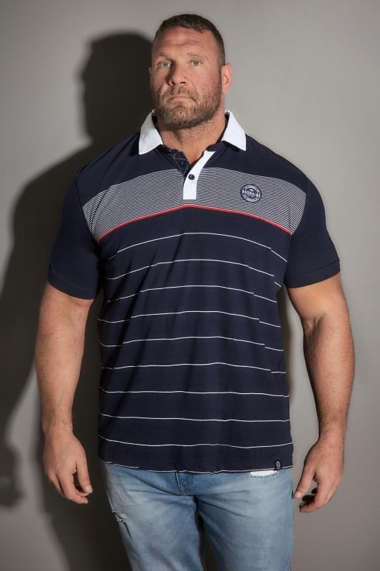 BadRhino Navy Striped Logo Polo Shirt
