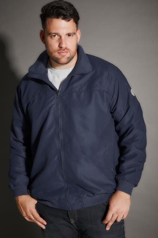 BadRhino Navy Suedette Harrington Bomber Jacket - TALL