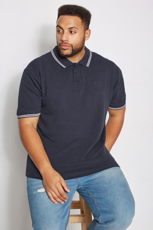 Polo Shirts BadRhino Navy Textured Tipped Polo Shirt 055128