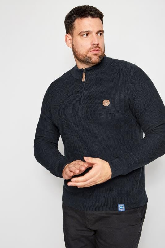 BadRhino Navy Textured Zip Sweater