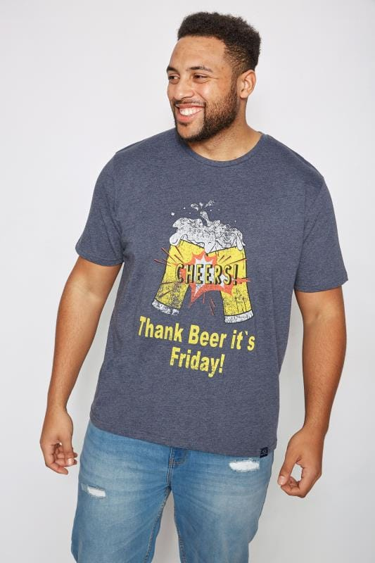 "BadRhino Navy ""Thank Beer It's Friday"" Slogan Print T-Shirt"