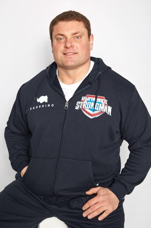 BadRhino Navy 'Ultimate Strongman' Zip Through Hoodie