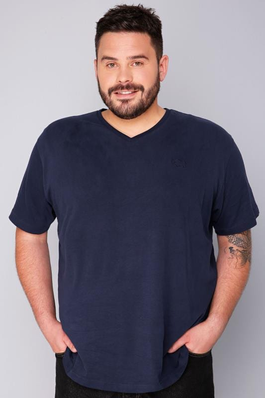 BadRhino Navy V-Neck Basic T-Shirt - TALL