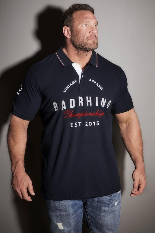 Polo Shirts BadRhino Navy Vintage Varsity Slogan Polo Shirt With Tipped Collar 200134