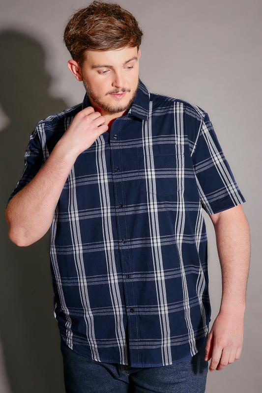 BadRhino Navy & White Check Short Sleeve Cotton Shirt - TALL