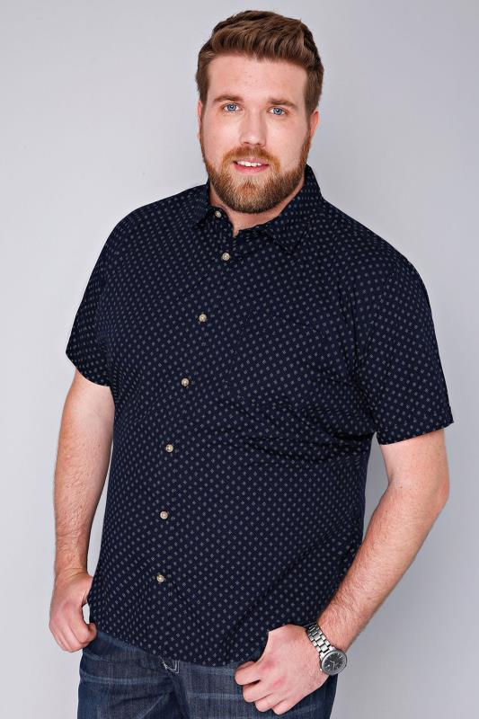 BadRhino Navy & White Printed Short Sleeve Shirt