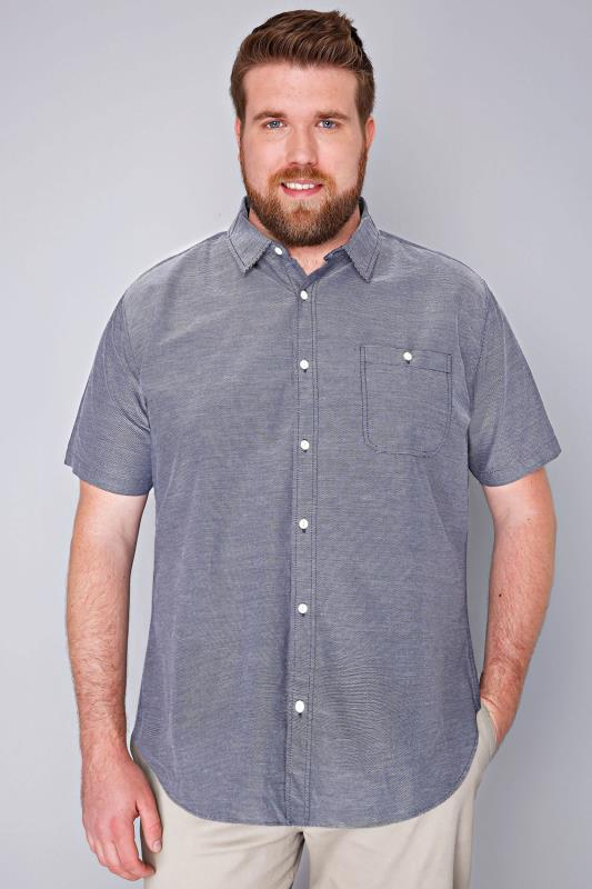 BadRhino Navy & White Stitch Detail Short Sleeve Shirt - TALL