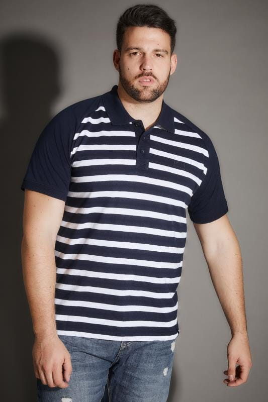Polo Shirts BadRhino Navy & White Premium Slub Jersey Striped Polo Shirt 200538