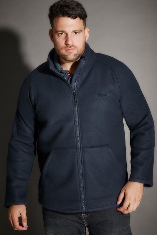 BadRhino Navy Zip Through Fleece With Sherpa Lining