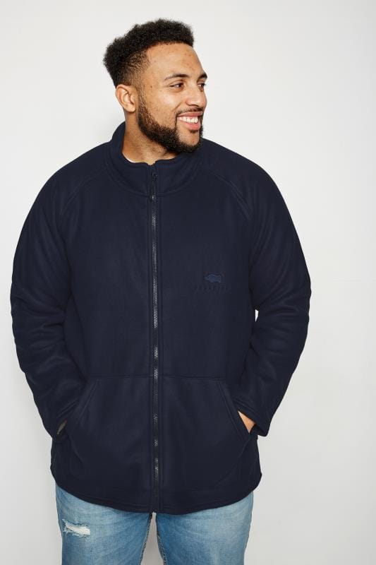 Fleece BadRhino Navy Zip Through Fleece With Sherpa Lining 200455