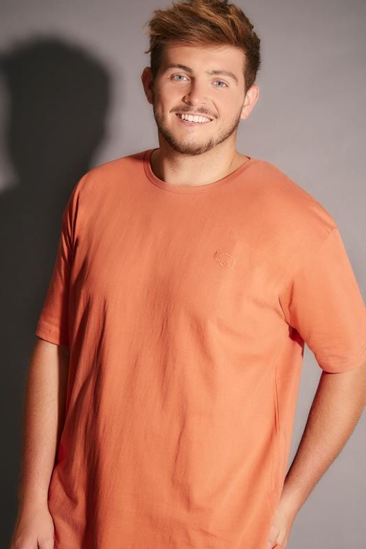 BadRhino Orange Crew Neck Basic T-Shirt - TALL