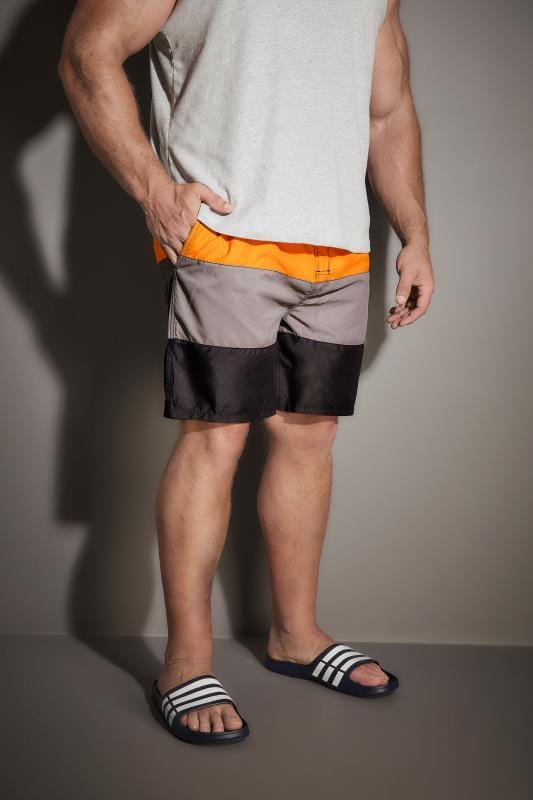 BadRhino Orange, Grey & Black Colour Block Swim Shorts
