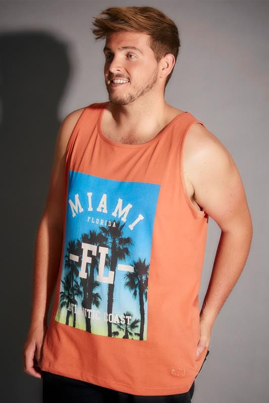 BadRhino Orange Miami Print Crew Neck Cotton Vest - Tall