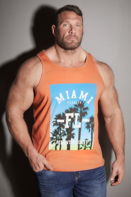 Vests BadRhino Orange Miami Print Crew Neck Cotton Vest 200062