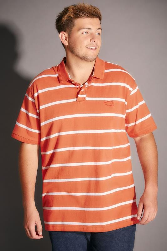 BadRhino Orange Wide Stripe Polo Shirt - TALL