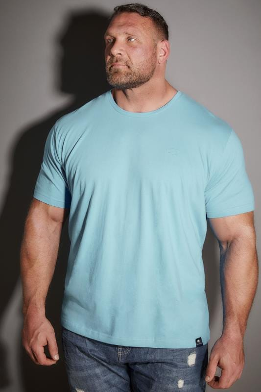 BadRhino Pale Blue Crew Neck Basic T-Shirt