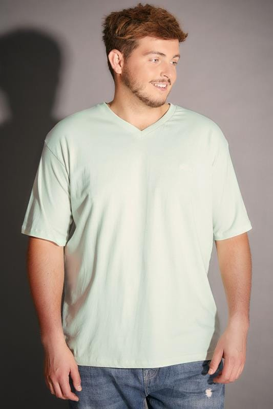 BadRhino Pale Green V-Neck Basic T-Shirt - TALL