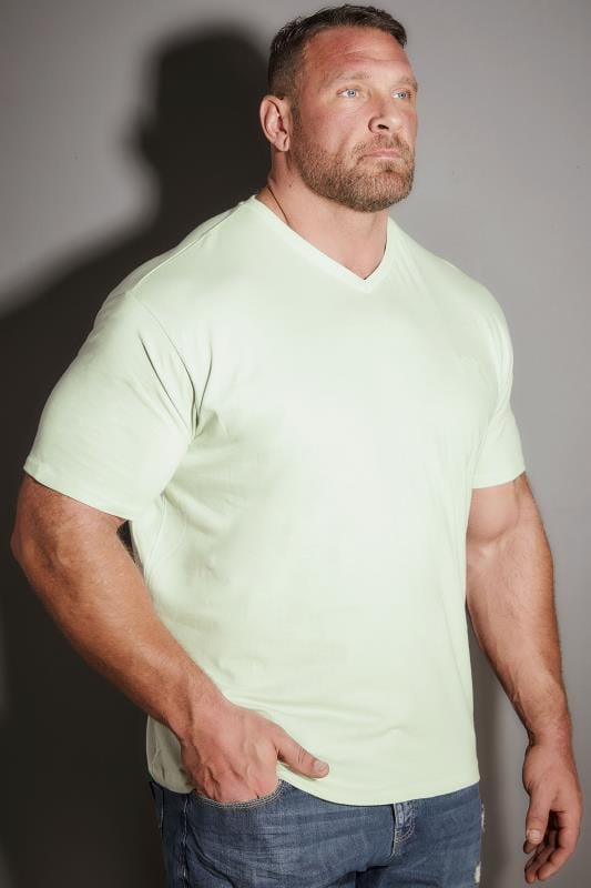 798533287b19 BadRhino Pale Green V-Neck Basic T-Shirt Extra Large Sizes L to 8XL