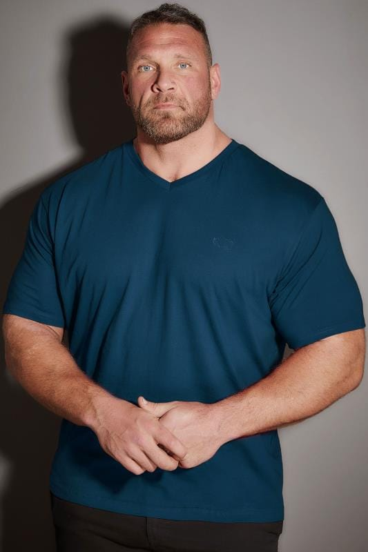 BadRhino Petrol Blue V-Neck Basic T-Shirt