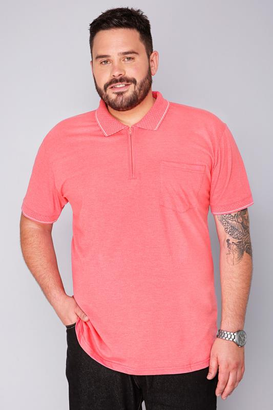 BadRhino Pink Short Sleeve Zip Neck Polo Shirt