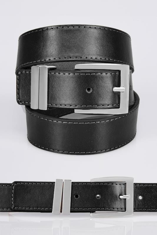 Belts & Braces BadRhino Plain Black Bonded Leather Belt 110439