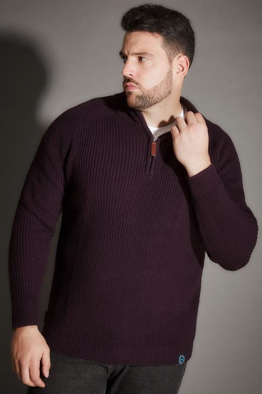 BadRhino Purple Rib Knit Funnel Neck Jumper With Zip Front