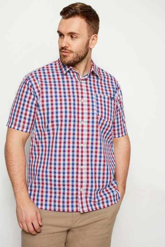 Casual Shirts BadRhino Red & Blue Gingham Short Sleeve Shirt 200919